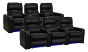 Lane Dynasty Black Bonded Leather Home Theatre Seating w/ Base Lights - 2 Rows of 3 Seats - Power Recline