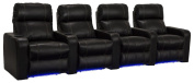 Lane Dynasty Black Bonded Leather Home Theatre Seating w/ Base Lights - Row of 4 Seats - Power Recline