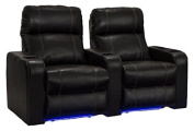 Lane Dynasty Black Bonded Leather Home Theatre Seating w/ Base Lights - Row of 2 Seats - Power Recline