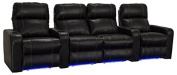 Lane Dynasty Black Bonded Leather Home Theatre Seating w/ Base Lights - Row of 4 w/ Middle Love Seat - Power Recline