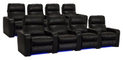 Lane Dynasty Black Bonded Leather Home Theatre Seating w/ Base Lights - 2 Rows of 4 Seats - Power Recline