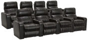 Lane Dynasty Black Bonded Leather Home Theatre Seating - 2 Rows of 4 Seats (8 Recliners) - Power Recline