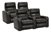 Lane Dynasty Black Bonded Leather Home Theatre Seating - 2 Rows of 2 Seats (4 Recliners) - Power Recline