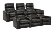 Lane Dynasty Black Bonded Leather Home Theatre Seating - 2 Rows of 3 Seats (6 Recliners) - Power Recline