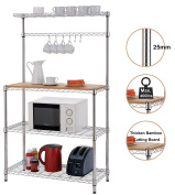 """Finnhomy 16x 36"""" x 150cm 4-Tiers Adjustable Kitchen Bakers Rack Kitchen Cart Microwave Stand with Chrome Shelves and thicken Bamboo Cutting Board"""