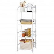Lifewit 4-Tier Multifunctional Shelving Unit, Free Standing Storage Tower Rack for Kitchen / Bathroom / Greenhouse, Carbon Steel, White
