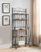 Kings Brand Furniture Black / Walnut 5-Tier Kitchen Storage Bakers Rack