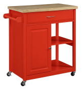 Oliver and Smith - Nashville Collection - Mobile Kitchen Island Cart on Wheels - Red - Natural Oak Butcher Block - 80cm W x 46cm L x 90cm H