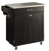 Oliver and Smith - Nashville Collection - Mobile Kitchen Island Cart on Wheels - Black - Stainless Steel Top - 80cm W x 46cm L x 90cm H