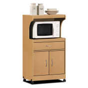 Hodedah Microwave Cart with One Drawer, Two Doors, and Shelf for Storage, Beech
