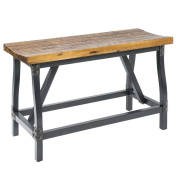 Industrial Rustic Wood and Metal Counter Height Gathering Dining Bench - Includes Modhaus Living Pen