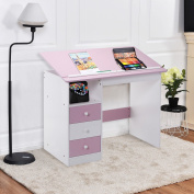 Tangkula Drawing Desk Drafting Table Adustable Top Art Craft w/ Drawers