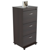 Contemporary Three-drawer Espresso Locking File Cabinet