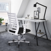 GreenForest Home Office Desk Chair, Mid-Century Modern Design Mid-Back PP Plastic Armrest Swivel Adjustable 5 Dual-Wheel Casters Chrome Steel Base, Black and White