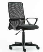 KERLAND Mid Back Ergonomic Adjustable Mesh Swivel Computer Desk Task Study Home Office Chair with Arms,Black
