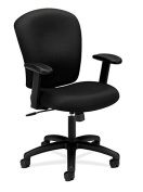 basyx by HON Mid Back Task Chair - Fabric Computer Chair with Arms for Office Desk, Black