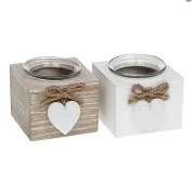 Set of 2 Provence Single Tealight Holders - Brown and White …