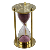 Brass Metal Glass Hourglass Sand Clock Timer with Gold Round Shape Base Height 10 Cm