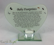 Special Prayer Now I have wings baby footprints Heart Shaped Memorial T Light Holder