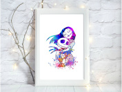 nightmare before christmas a4 glossy print poster UNFRAMED picture nursery gift watercolour paint splatter
