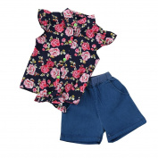 Toddler Outfit Clothes Set, Keepfit Kid Baby Girls Floral T-Shirt Tops+Denim Shorts Pants