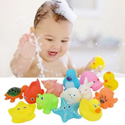 New 13 pcs Animals Kids Toys Soft Rubber Float -Sqeeze Sound -Baby Fun Mood good Love bathing