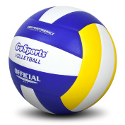 GoSports Indoor Competition Volleyball - Made From Synthetic Leather - Includes Ball Pump - Regulation Size and Weight