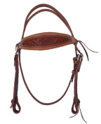 Brown Tooled Leather Browband Bridle W/Silver Trim