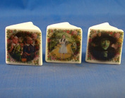Porcelain China Collectable - Miniature Book Thimbles Set of Three - Wizard of Oz