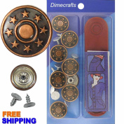 17 mm No-Sew Copper 8 Jean Tack Buttons w/Tool