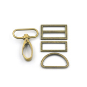 """2 Sets Swivel Hook Clips Buckles Triglides D Rectangle Ring Strap Snap Metal 1.5"""" 38mm Bronze"""
