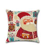 ✿Moseâ . !Merry Christmas Linen Santa Pillow Cases Sofa Cushion Cover