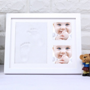 HAN-MM Baby Handprint and Footprint Frame Kit Baby Boys and Girls Shower Gifts Memorable Keepsakes Decorations for Room Wall or Table Decor Premium Clay and Wood Frame