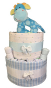 Sunshine Gift Baskets - Blue Nappy Cake Gift Set with a Plush Giraffe Rattle