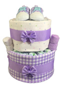 Sunshine Gift Baskets - Purple Nappy Cake Gift Set with Infant Shoes