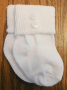 Integrity Designs Baby Boys White Anklet Christening Socks with Buttons, Newborn, 1-3 Month Size and Gift Card and Envelope