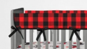 AllTot Crib Rail Guard- Red and Black Buffalo Plaid
