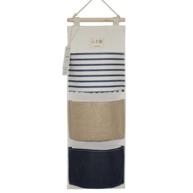 YOUOR Linen Cotton Fabric Wall Door Closet Hanging Storage Bag 3 Pockets Over the Door Organiser (Blue Type B)