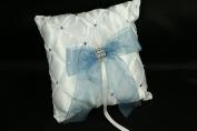 WHITE Wedding Lattice Design PILLOW Organza Bow & Faux Rhinestone Accent