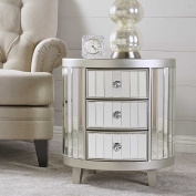 Frankel Mirrored Cabinet with Champagne Silver Hardwood Accents