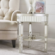 William Mirrored Round Table with Champagne Silver Hardwood Accents