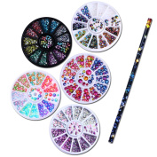 NICOLE DIARY 5 Boxes 3D Nail Art Rhinestones Decoration Holographic Chameleon Marquise Flame Studs in Wheel + 1Pc Wax Pen Rhinestone Studs Picker Nail Art Tool