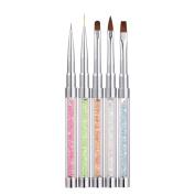 Alonea 5Pcs Different Size Crystal Colour Handle Nail Brush Design Nail Pen