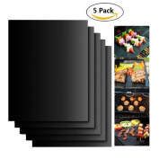 Silicone Cooking Gloves Thicker Heat Resistant BBQ Accessories and Meat Bear Claws,Grill Mat Set of 5- 100% Non-stick BBQ Grill & Baking Mats For Grilling Kitchen