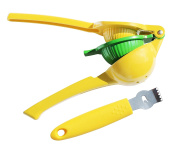 Amazing Premium Lemon Lime Manual Citrus Double Bowl Hand Squeezer, Zester and Channel Knife Kit by CK Home Comforts. Easy to Use.