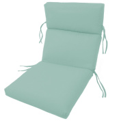SUNBRELLA OUTDOOR channelled CHAIR CUSHIONS 22W x 44L x 3H Hinge at 60cm in GLACIER by Comfort Classics Inc.