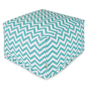 Majestic Home Goods Chevron Ottoman, Large, Teal