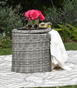Elle Decor Vallauris Outdoor Storage Side Table, Grey
