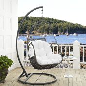 LexMod EEI-2279-WHI-SET Arbour Outdoor Patio Wood Swing Chair, White