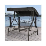 Outdoor Porch Swing Deck Furniture with Adjustable Canopy Awning. Weather Resistant Wrought Iron Metal Frame. Similar to A Porch Glider the Bench Provides Spacious Chair Seating for 2